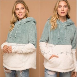 October Love Two Tone Mint Fuzzy Pullover Hoodie